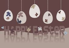 Happy Easter Card Design With Floral Easter Eggs Stock Image