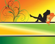 Free Attractive Woman Silhouette On Abstract Background Royalty Free Stock Photos - 8415658