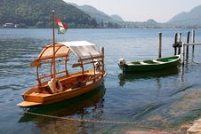Wooden Boats On The Lake Royalty Free Stock Photo