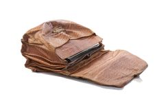 Free Old Portfolio From A Crocodile Leather Isolated Stock Image - 8416461