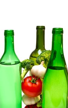 Free Wine Bottles And Vegetables Royalty Free Stock Photo - 8416855