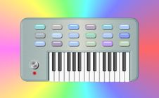 Pastel Psychedelic Retro Keyboard Royalty Free Stock Images