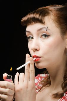 Free Smoking Retro Woman Royalty Free Stock Photo - 8417025