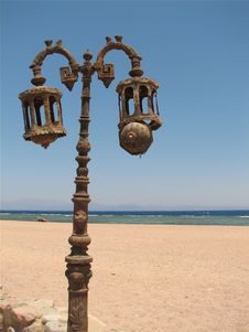 Lamp Post On The Beach Royalty Free Stock Photography