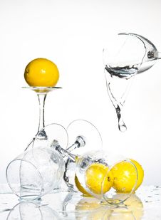 Free Lemon With Water Stock Photography - 8417452