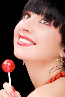 Sweet Woman With Candy Stock Images