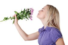 Free Woman And Bouquet Of Flowers Royalty Free Stock Photography - 8418067