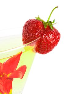 Strawberry With Glass Of Cocktail Stock Photo