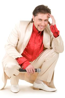Free Fashion Man With Mike Stock Image - 8418311