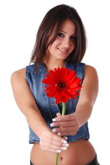 Free Woman With Flower Stock Photos - 8418363