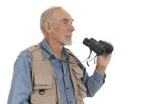 Free Senior Man With Binoculars Stock Image - 8418841