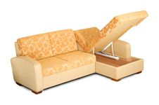 Free Yellow Sofa With An Open Box Stock Photo - 8419540