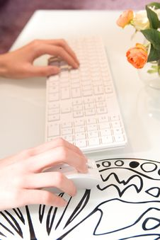 Free Businesswoman Working On White Keyboard Stock Images - 8419554