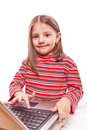 Free Little Girl With Laptop Stock Photos - 8421333