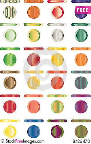 Free Button, Set Of Buttons That Are Metal And Light Stock Photo - 8426470