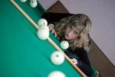 Free The Girl On A Billiard Table Stock Images - 8420294