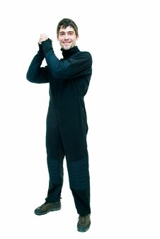 Free In Black Suit For Flight Stock Images - 8420324