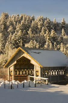 Covered Bridge In Winter Stock Image