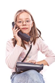 Free Little Girl With Telephone Stock Photography - 8421322