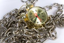 Clock With Chain Stock Photo