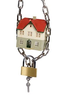 Free House  Locked With Padlock Royalty Free Stock Photo - 8421875