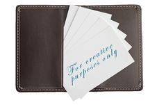 Free Business Cards In Open Leather Card Holder Stock Photography - 8422842