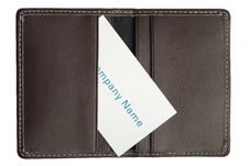 Single Business Card In Open Leather Holder Stock Image