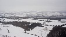 Snowy Countryside From The Air Stock Photos