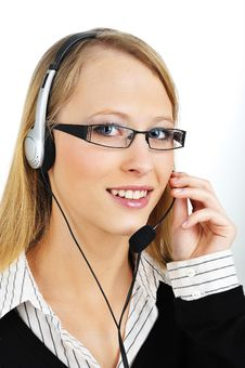 Free Friendly Customer Representative With Headset Royalty Free Stock Photography - 8423617