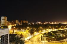 Malaga By Night Stock Photography
