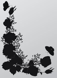 Free Rose Corner Silhouette Illustration Royalty Free Stock Photo - 8424275