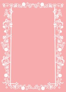Free White Frame With Foliage On Pink Royalty Free Stock Photography - 8424297