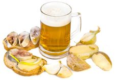 Free Beer With Herring Stock Photography - 8424952