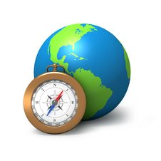 Globe With Compass Royalty Free Stock Photo