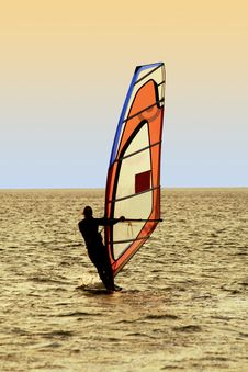 Free Silhouette Of A Windsurfer Stock Images - 8426854