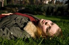 Free Girl On A Grass Stock Photo - 8427340