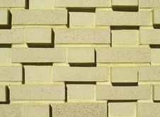 Multi-Layered Yellow Brick Wall Stock Photo