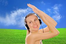 Free Happiness Women In Headphones And Listening Music Stock Photos - 8427693