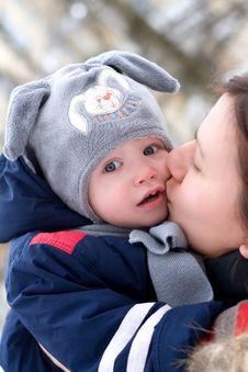 Free Portrait Of Mother Kissing Small Son Royalty Free Stock Photography - 8427847