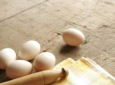 Some Eggs And Dishcloth Royalty Free Stock Images