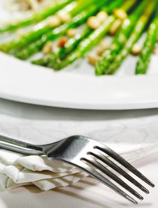 Fork And Fresh Asparagus Stock Image
