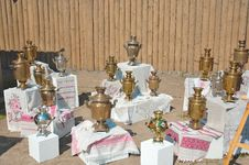 Free Exhibition Of Samovars Under The Open Sky. Royalty Free Stock Image - 84220526