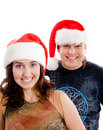 Free Brunette Happy Couple Wearing Christmas Hat Royalty Free Stock Photo - 8433415
