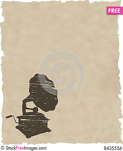 Free Vector Old Gramophone On Old Paper Royalty Free Stock Image - 8435556