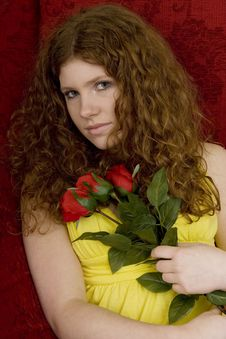 Free Red Haired Teenager With Red Roses Royalty Free Stock Photo - 8430765