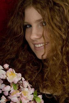 Red Haired Teenager With Red Roses Stock Photos