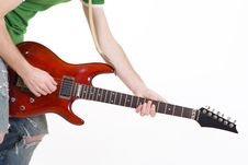 Closeup Of A Guitar Player Playing His Guitar Stock Image