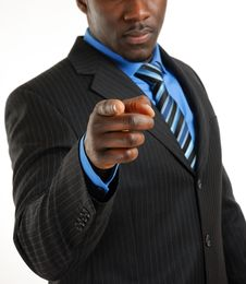Confident Business Man Pointing Royalty Free Stock Photos