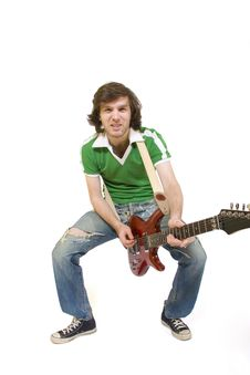 Guitar Player Playing His Guitar Royalty Free Stock Photography