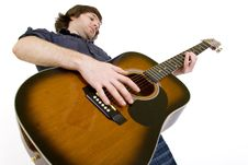 Guitarist With Playing Acoustic Guitar Stock Images